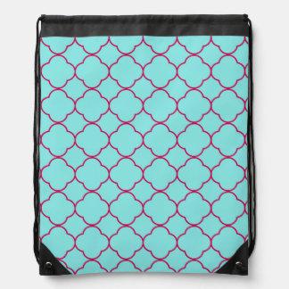 quatrefoil pattern drawstring bag
