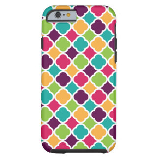 Quatrefoil Pattern Green Pink Purple Orange Teal Tough iPhone 6 Case
