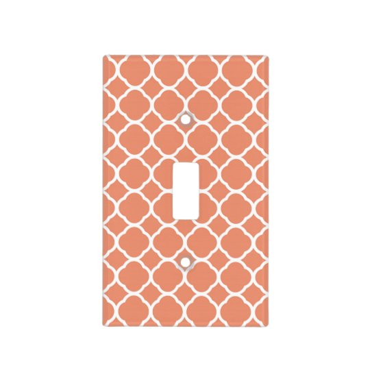 Quatrefoil Pattern in Coral and White Light Switch Cover