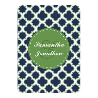 Quatrefoil Pattern Navy Blue & Green Wedding Card