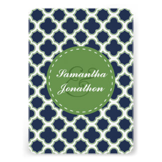 Quatrefoil Pattern Navy Blue & Green Wedding Cards