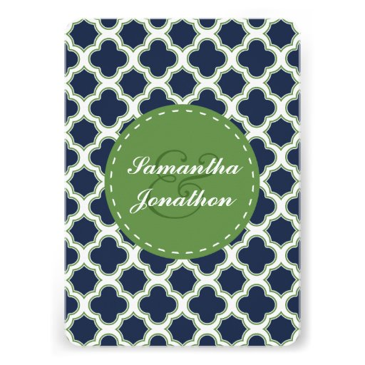 Quatrefoil Pattern Navy Blue & Green Wedding Cards