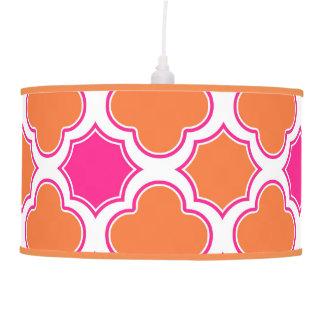 Quatrefoil Pattern Orange and Hot Pink Pendant Lamp