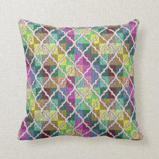 QUATREFOIL PATTERN PILLOW, Multicolor Throw Pillow