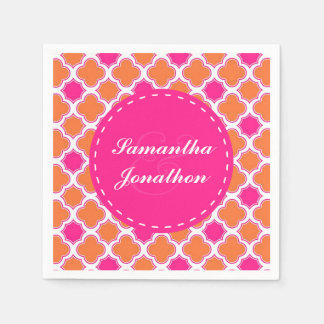 Quatrefoil Pattern Pink and Orange Wedding Paper Napkin