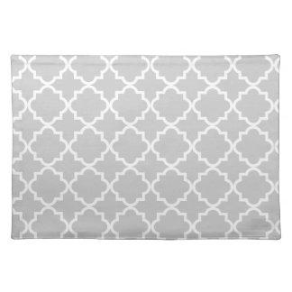 Quatrefoil pattern placemat, gray placemat