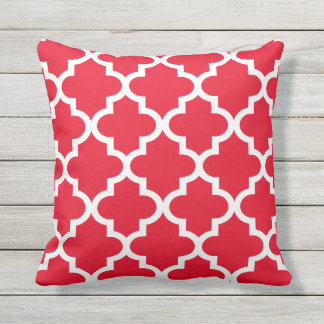 Quatrefoil Pattern | Red and White Outdoor Pillow