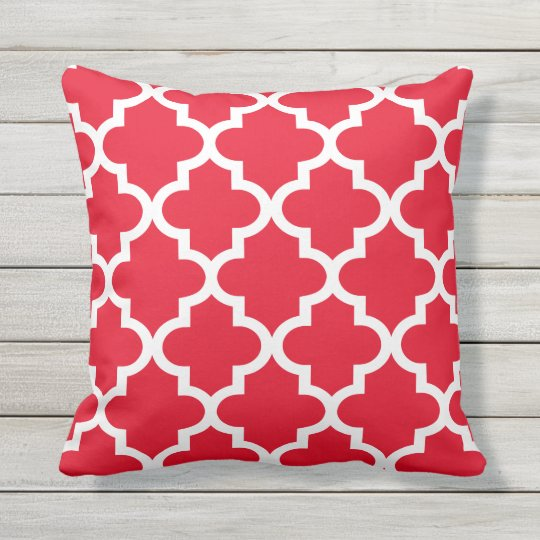 Quatrefoil Pattern Red And White Outdoor Pillow Zazzle Ca