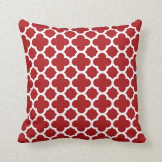 Quatrefoil Pattern Ruby Red Throw Pillow
