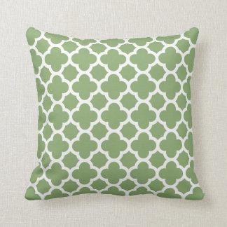 Quatrefoil Pattern Sage Green Throw Pillow