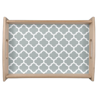 Quatrefoil Pattern Serving Tray \ Paloma Gray