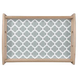 Quatrefoil Pattern Serving Tray \ Paloma Gray