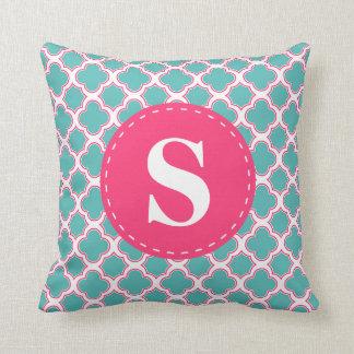 Quatrefoil Pattern Turquoise Blue & Pink Monogram Throw Pillow