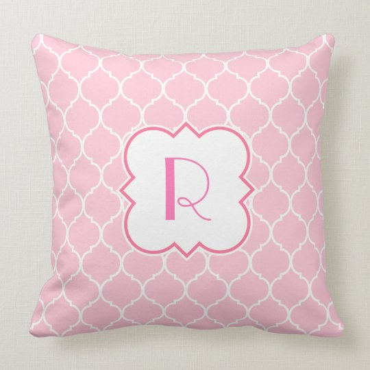Quatrefoil Pattern with Monogram Throw Pillow
