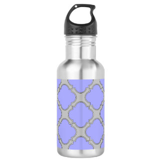 Quatrefoil periwinkle and gray 532 ml water bottle