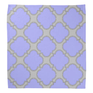 Quatrefoil periwinkle and gray bandana