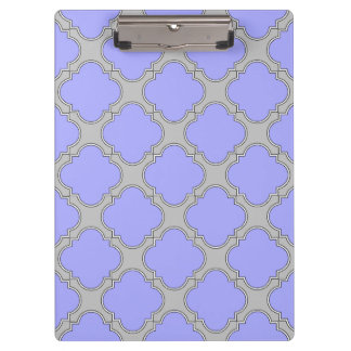 Quatrefoil periwinkle and gray clipboard
