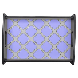 Quatrefoil periwinkle and gray serving tray