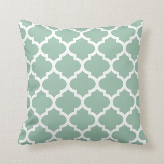 Quatrefoil Pillow - Greyed Jade Green Pattern