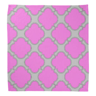 Quatrefoil pink and gray bandana