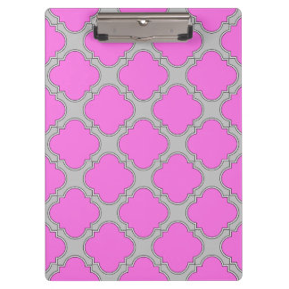 Quatrefoil pink and gray clipboard