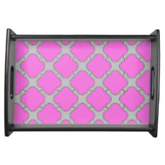 Quatrefoil pink and gray serving tray