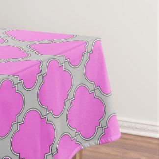 Quatrefoil pink and gray tablecloth