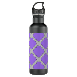 Quatrefoil purple and gray 710 ml water bottle