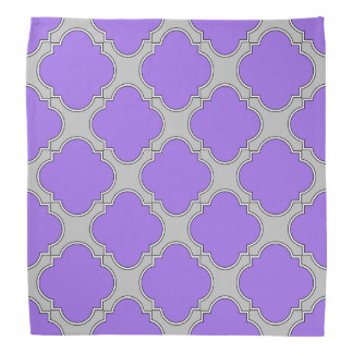 Quatrefoil purple and gray bandana