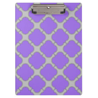 Quatrefoil purple and gray clipboard