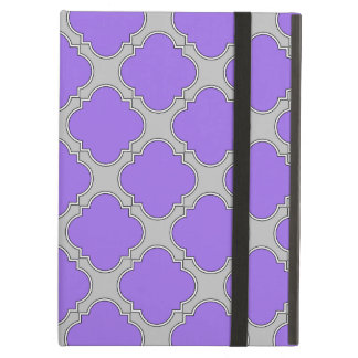 Quatrefoil purple and gray cover for iPad air