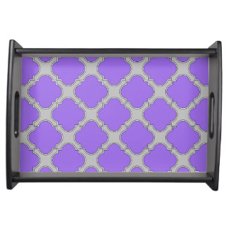 Quatrefoil purple and gray serving tray