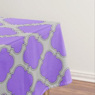 Quatrefoil purple and gray tablecloth