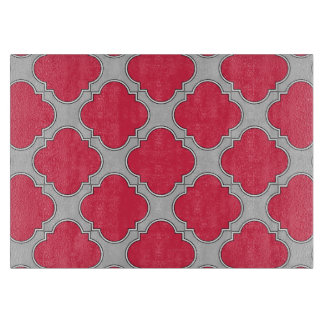 Quatrefoil red and gray cutting board