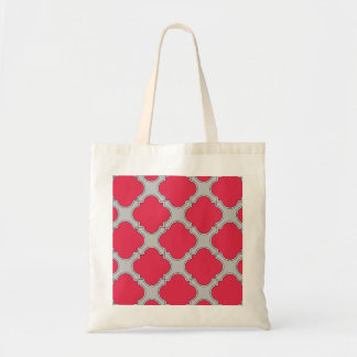 Quatrefoil red and gray tote bag
