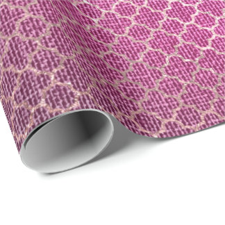 Quatrefoil Rose Gold Bright Vivid Pink Linen Wrapping Paper