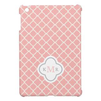 Quatrefoil Salmon Pink Pattern Stylish Monogram iPad Mini Cases