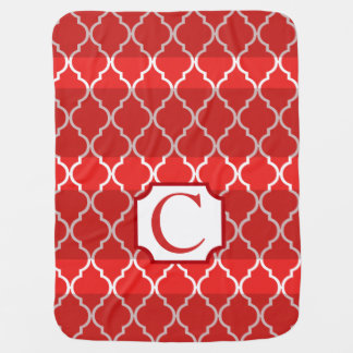 Quatrefoil Shadow Stripes Monogram | red Baby Blankets