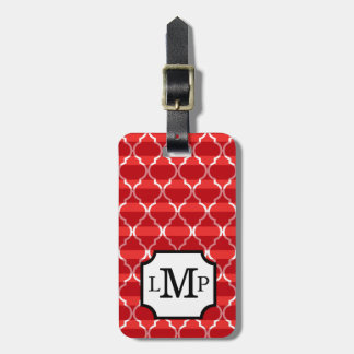 Quatrefoil Shadow Stripes Monogram | red Luggage Tag