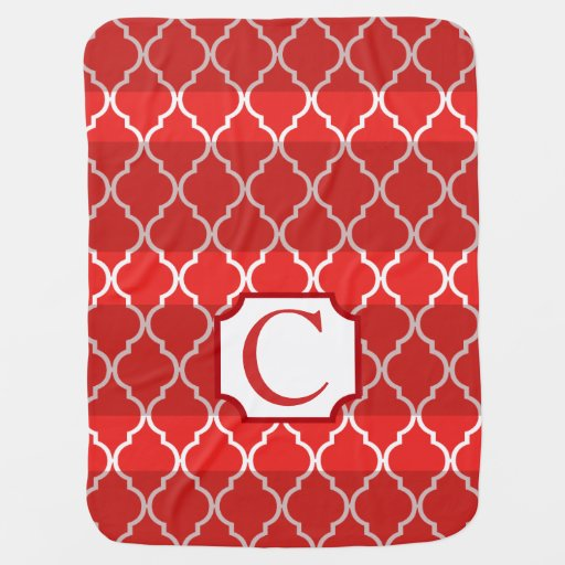 Quatrefoil Shadow Stripes Monogram | red Swaddle Blankets