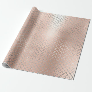 Quatrefoil Silver Glam Pink Rose Gold Art Deco Wrapping Paper