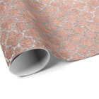 Quatrefoil Silver Glam Pink Rose Gold Shiny Wrapping Paper