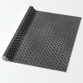 Quatrefoil Silver Gray Black Graphite Linen Shiny Wrapping Paper