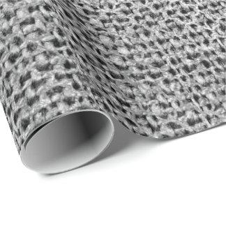 Quatrefoil Silver Gray Knitte Graphite Linen Shiny Wrapping Paper
