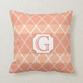Quatrefoil Stripe Monogram by Cheryl Daniels Throw Pillow