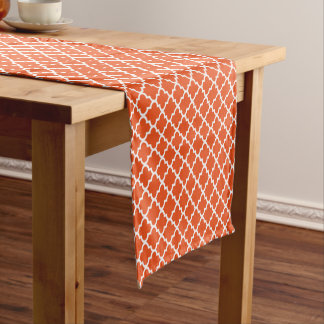 Quatrefoil Table Runner | Orange Pattern