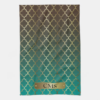 Quatrefoil Teal and Dark Brown Blend Kitchen Towel