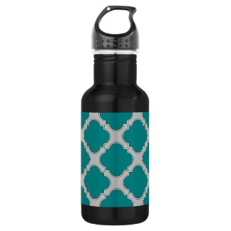 Quatrefoil teal and gray 532 ml water bottle
