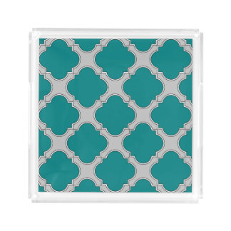 Quatrefoil teal and gray acrylic tray