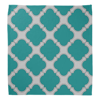 Quatrefoil teal and gray bandana